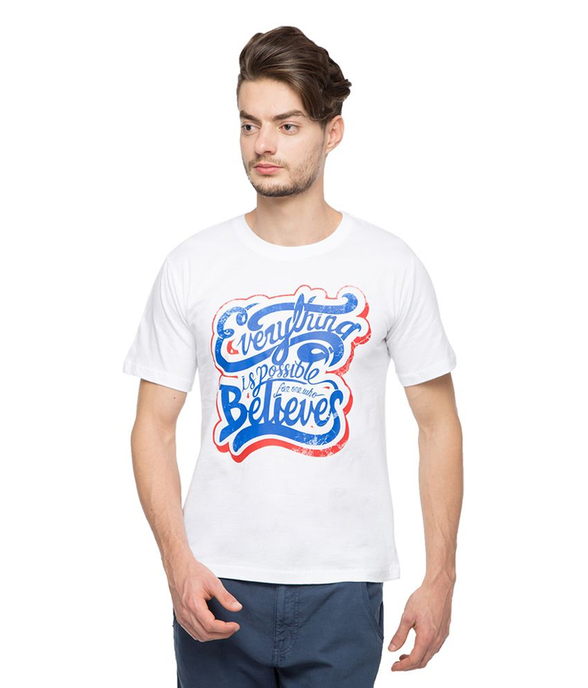 Afylish White Cotton Printed T-shirt