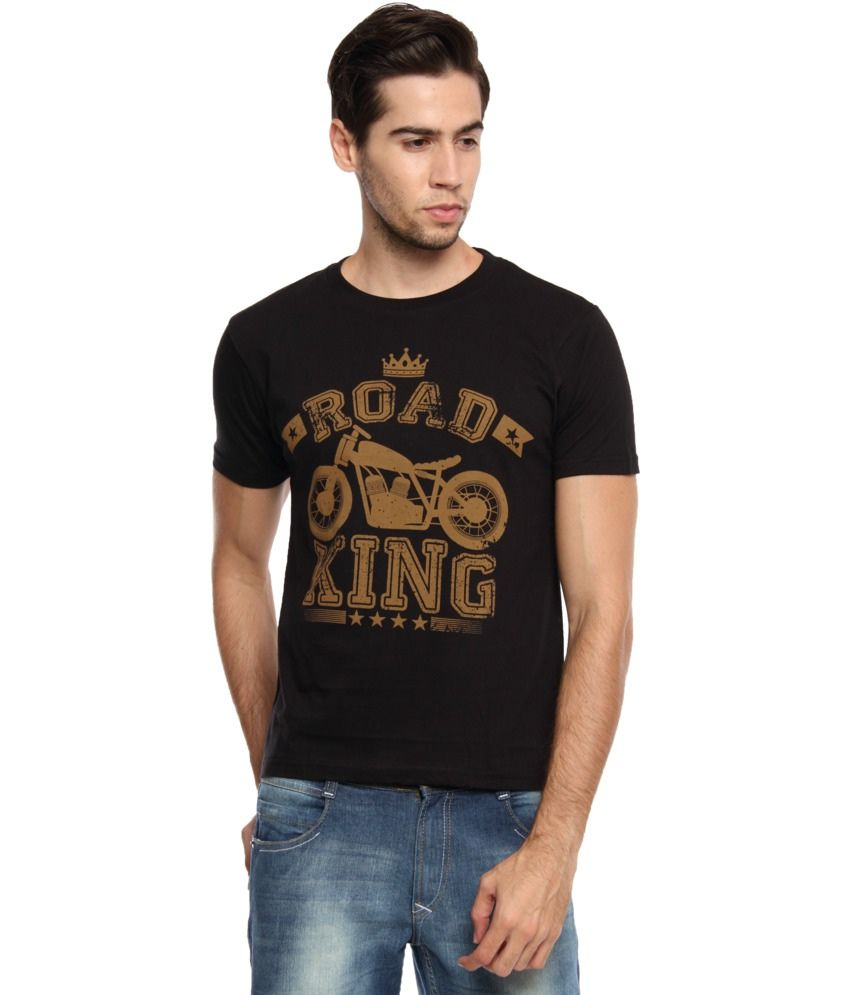 Zovi Black Cotton Road King Graphic T-shirt