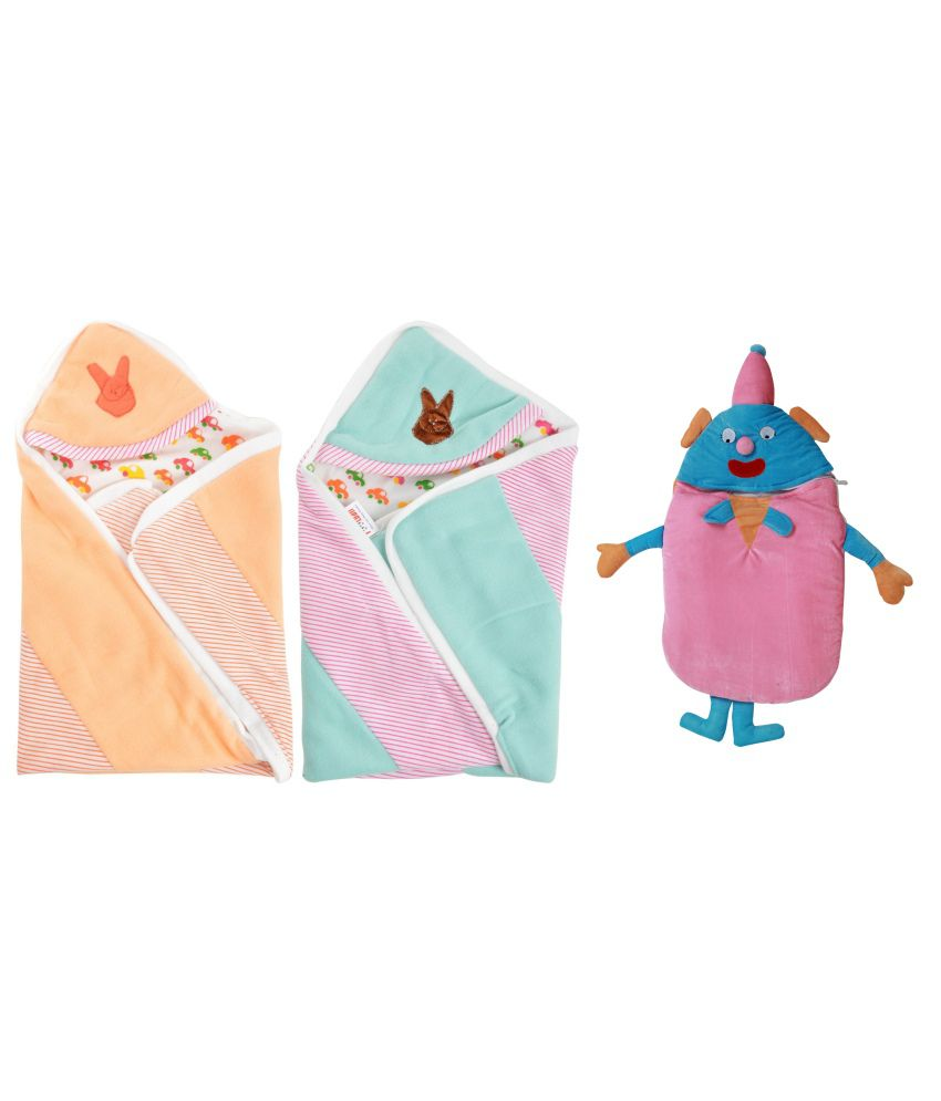 Royal Shri Om Multicolour Polycotton Baby Wrapper - Pack Of 3