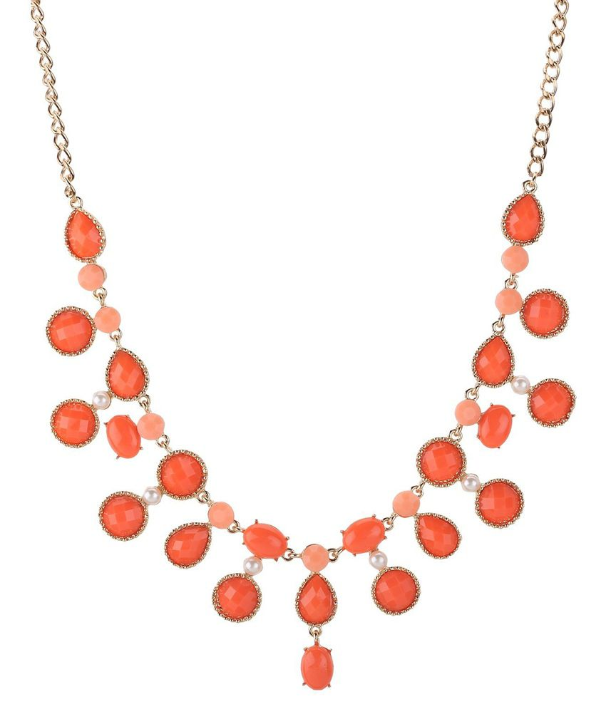 Sharnam E Mall Orange Designer Necklace