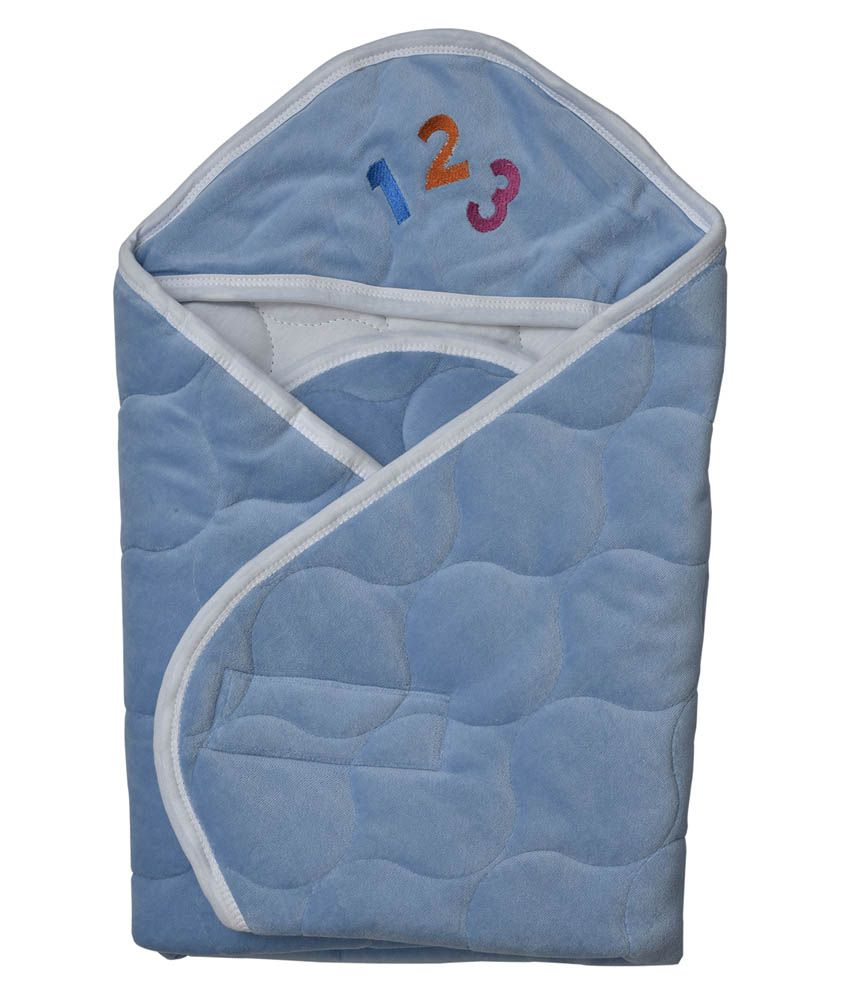 Becker Quick Dry Baby Wrapper Hooded Sky Blue
