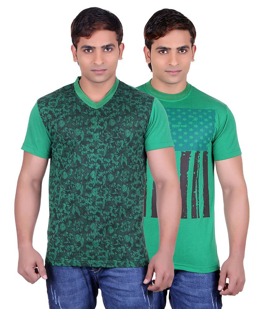 Runn93 Green Round Neck T-shirt Pack Of 2