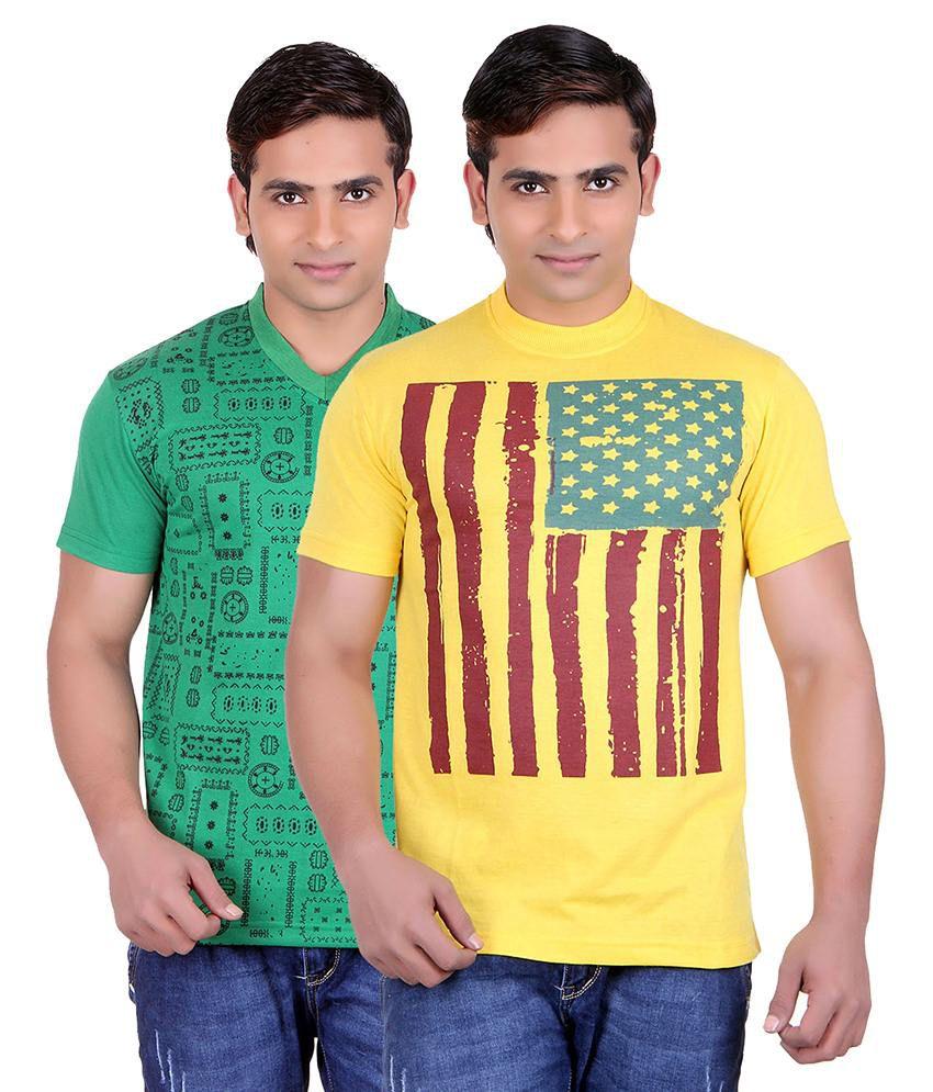 Runn93 Multicolour Round Neck T-shirt Pack Of 2