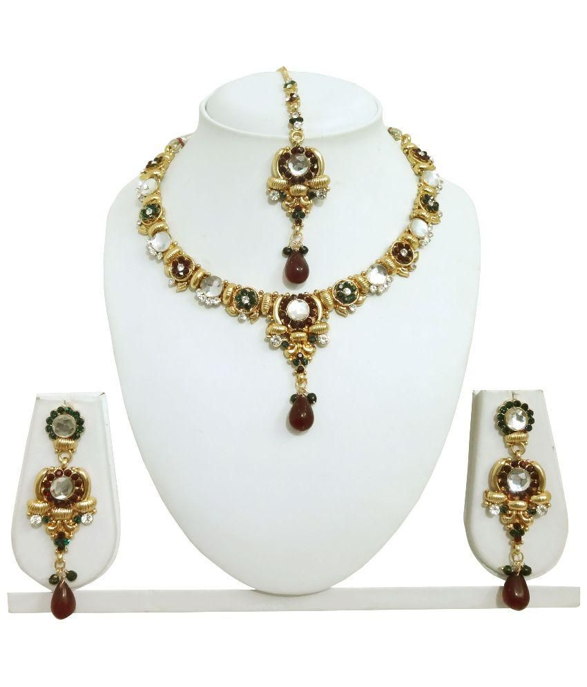 Arts Chetan Multicolor Necklace Set with Maang Tika