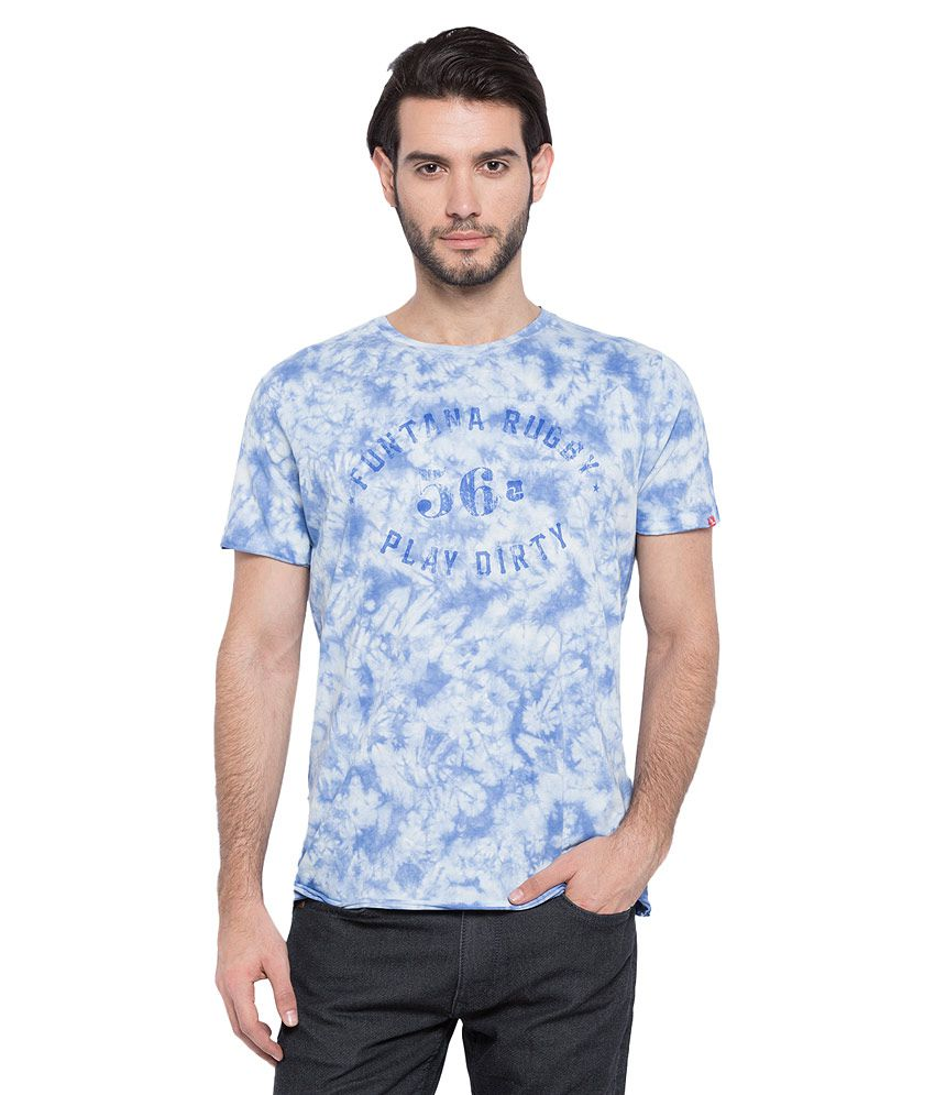Spykar Blue Printed T-Shirt