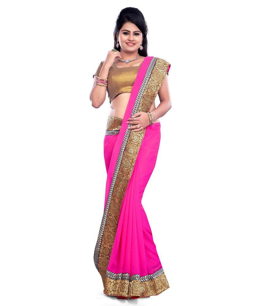 Kalki Traders Pink Chiffon Saree