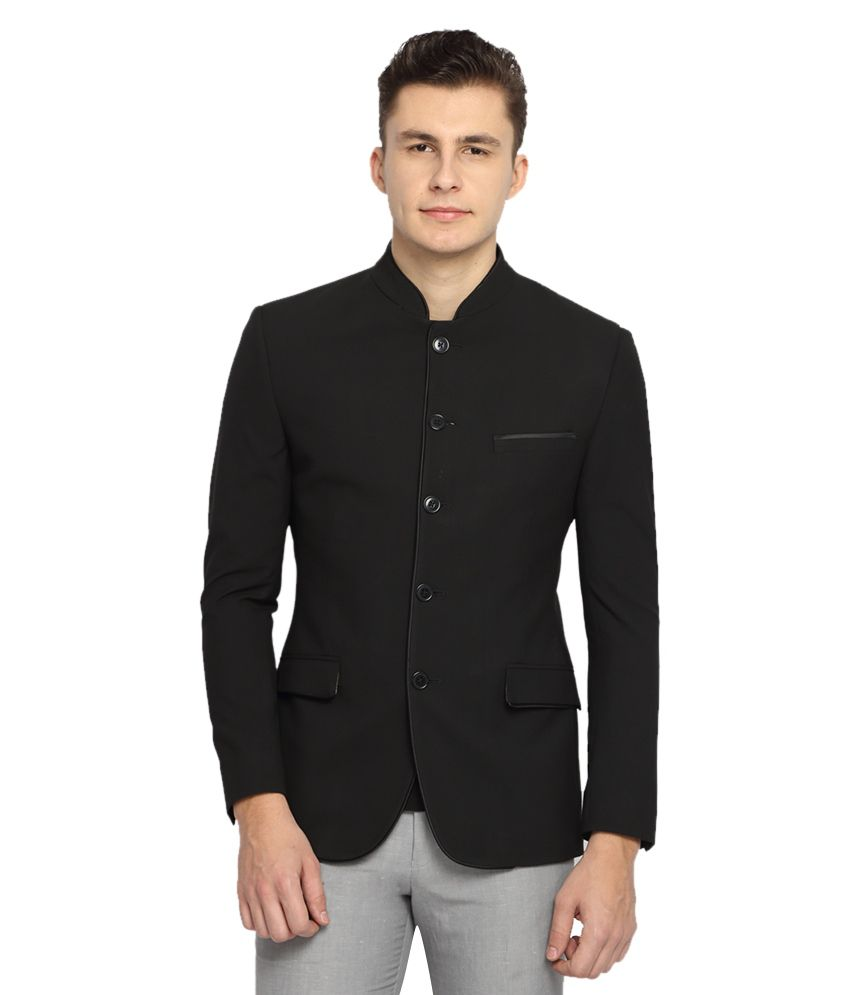 Suitltd Black Solid Slim Fit Jacket