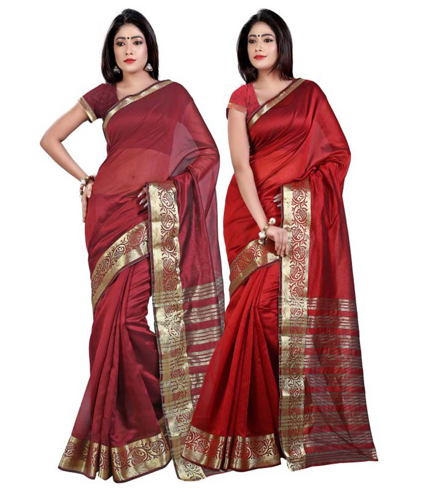 Weavedeal Red And Maroon Chanderi Pack Of 2
