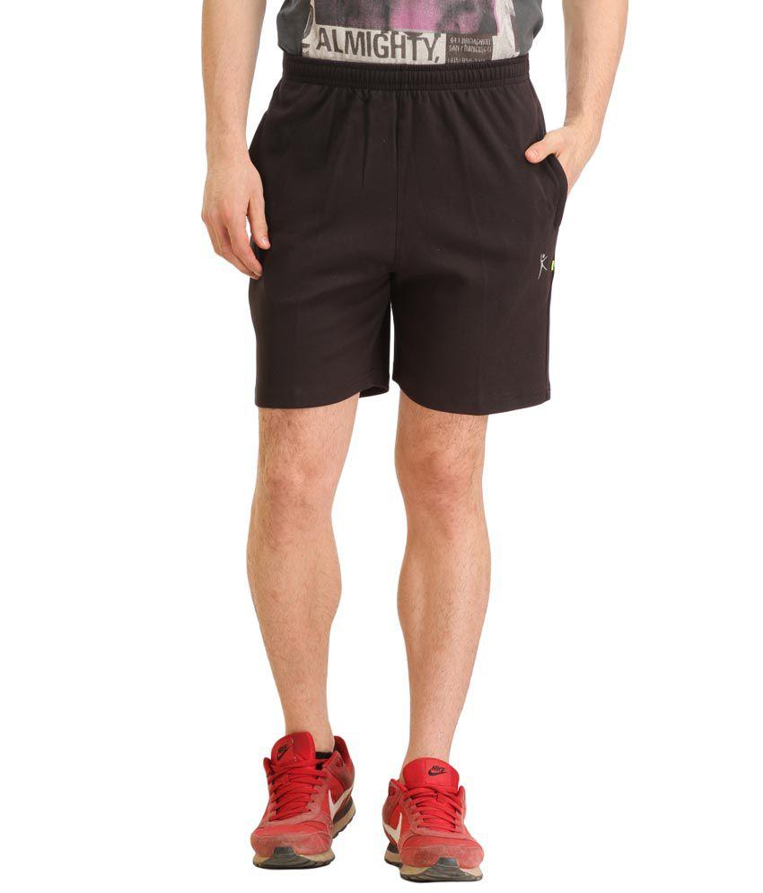 Spawn Black Cotton Blend Solids Shorts