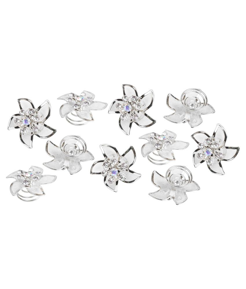 c6bc027139 Takspin Silver Juda Hair Pins - Pack Of 10: Buy Online at Low Price in India  - Snapdeal