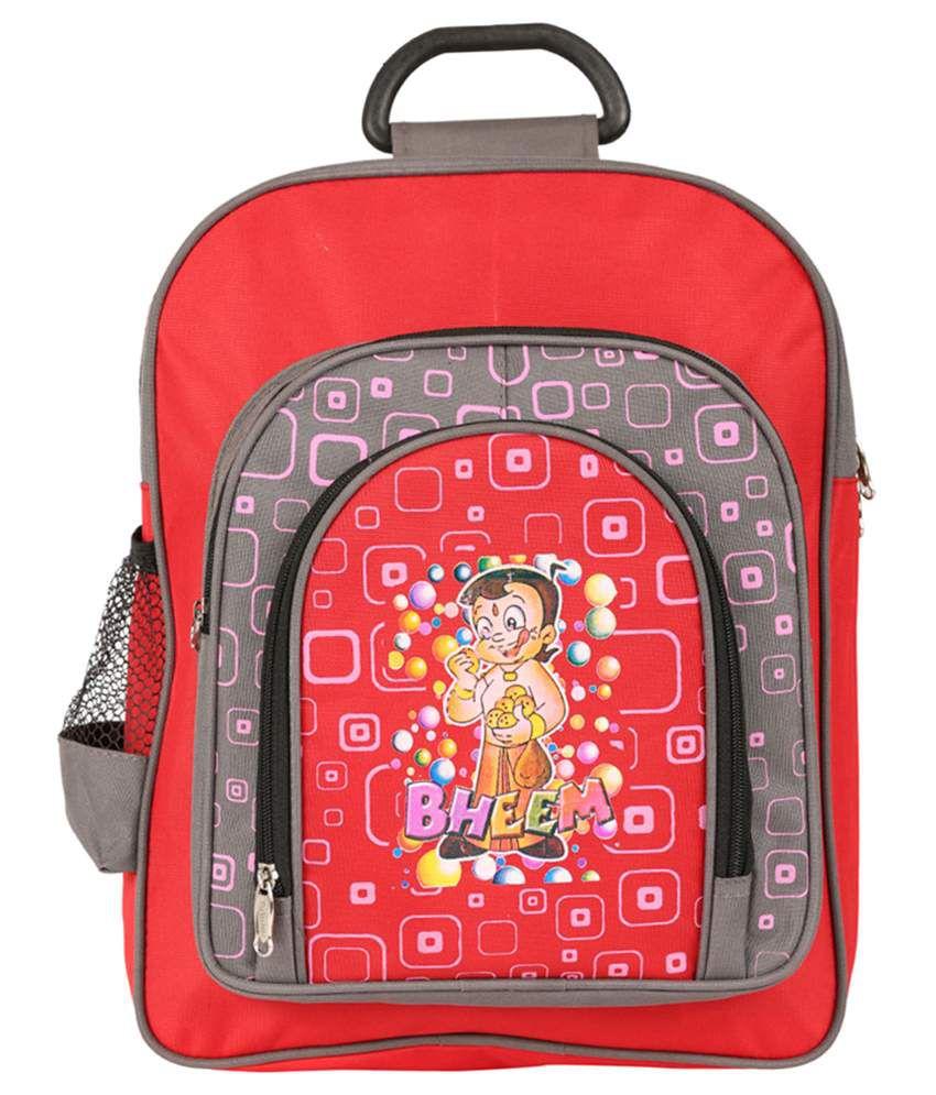 School bag ahmedabad gujarat - Daikon Polyester School Bag For Kids Red Grey
