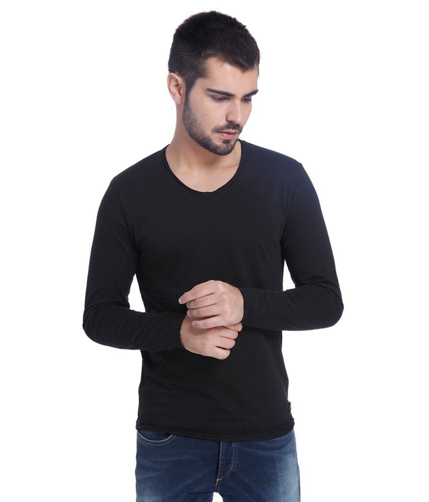 Jack & Jones Black Solid T-Shirt
