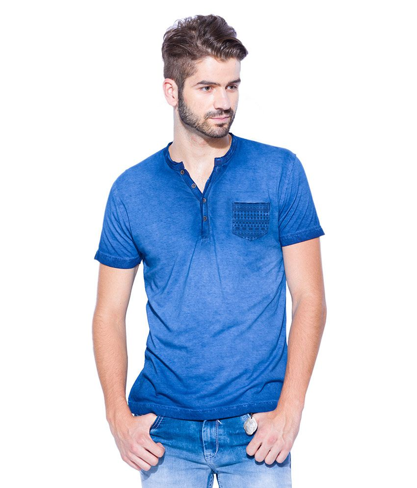 Mufti Blue Henley Neck T Shirt