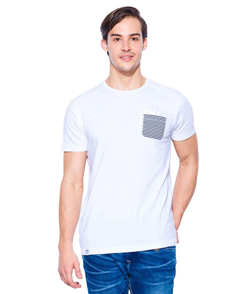 Mufti White Round Neck T Shirt