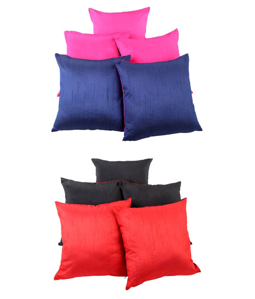 Rajrang Multicolor Poly Cotton Cushion Covers - Set Of 10