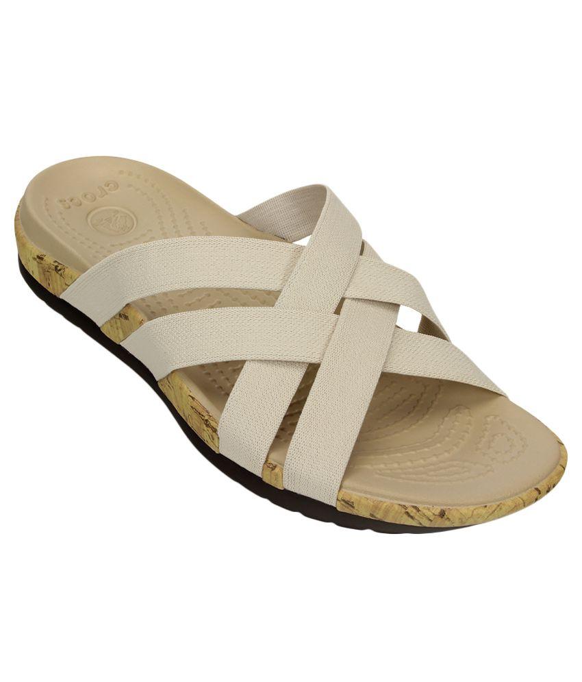 Crocs Beige Slippers & Flip Flops Roomy Fit