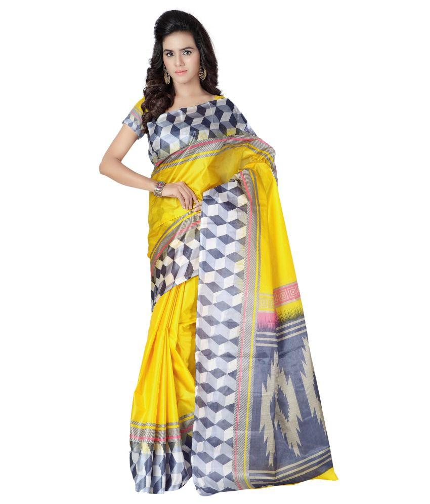 Kajal Sarees Yellow Art Silk Saree  available at snapdeal for Rs.298