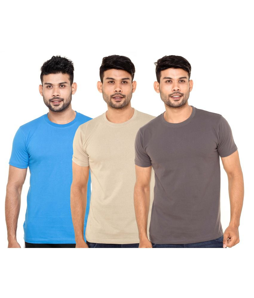 Fleximaa Multicoloured Cotton T-shirts (Pack of 3)