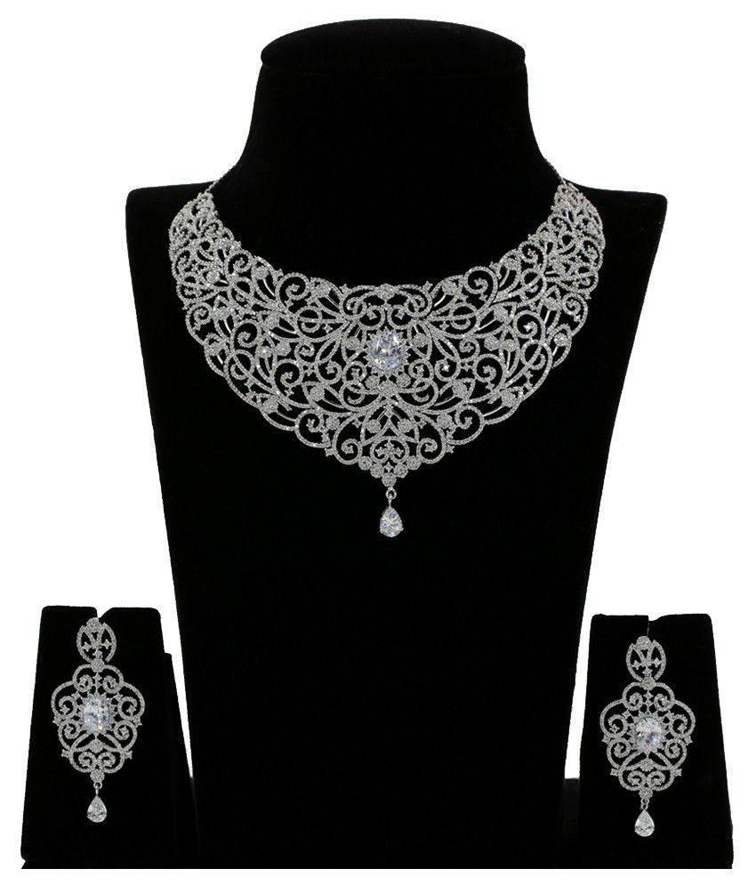 Abhijewels 92.5 Bis Hallmarked Silver Necklace Set