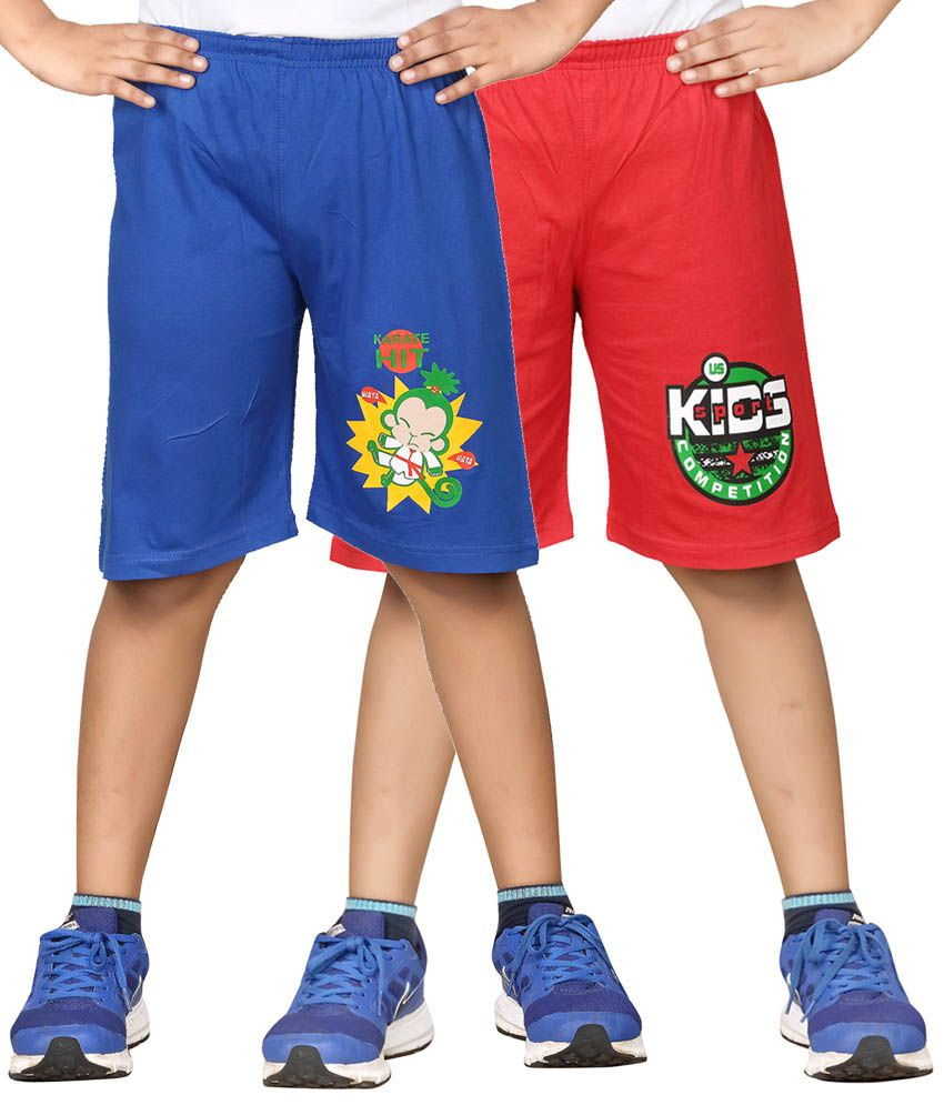 Dongli Blue & Red Shorts For Boys Set Of 2