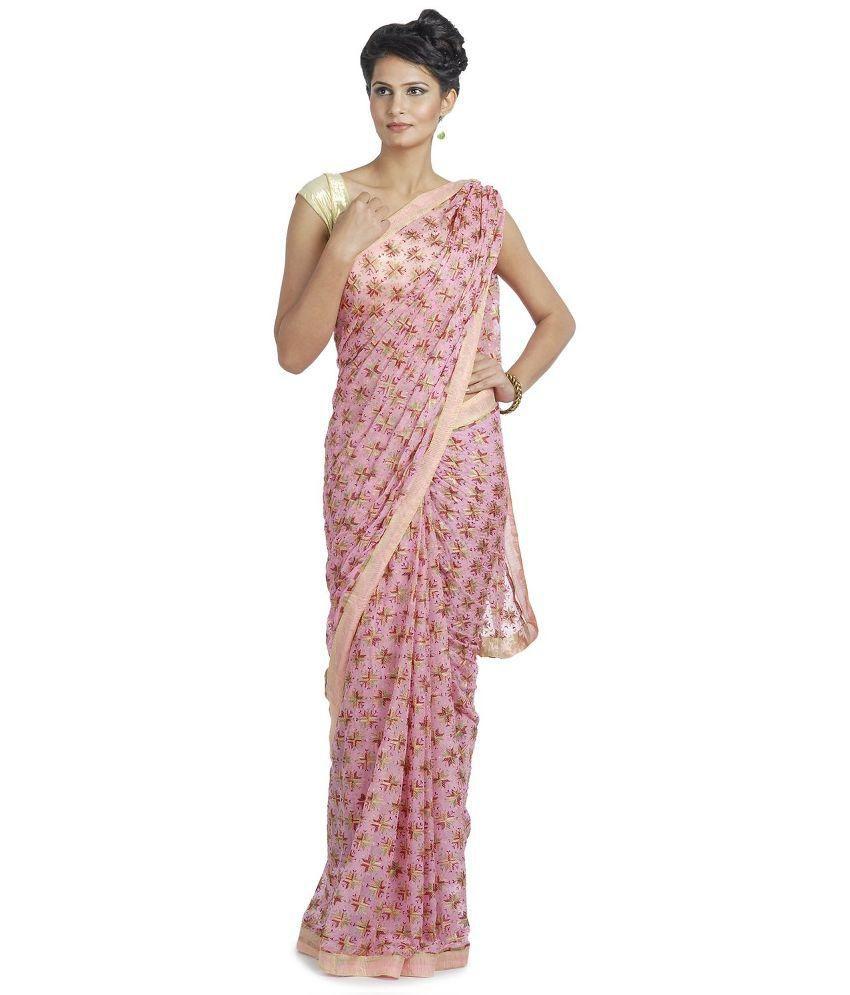 Femezone Pink Chiffon Saree