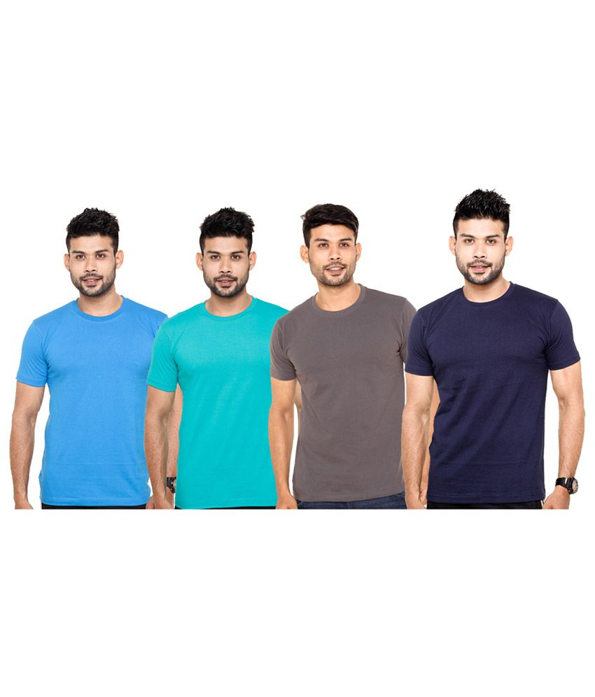 Fleximaa Multicolour Cotton Solid T-shirts (pack Of 4)