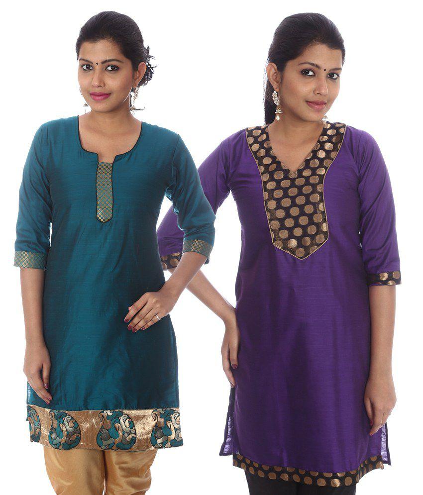 Hifi Multi Color Straight Cotton Silk Kurti