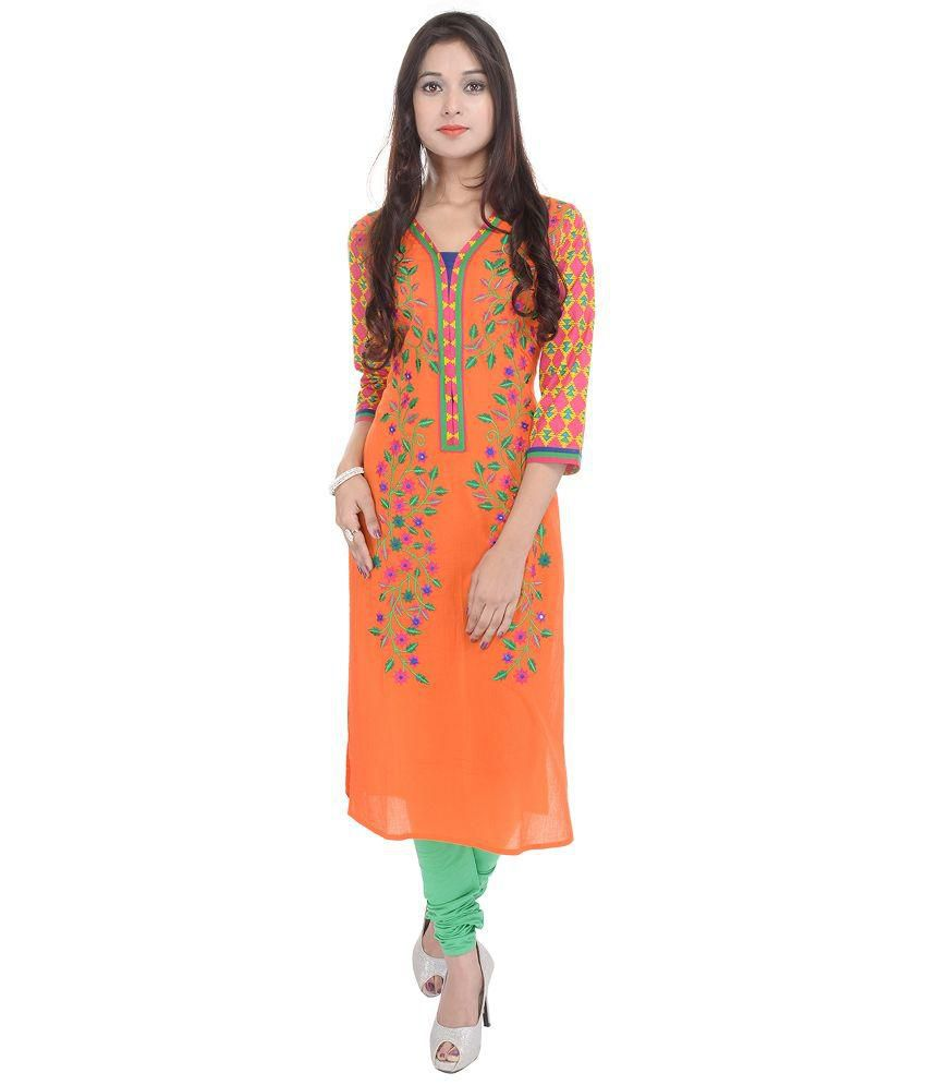 Koshika Orange Cotton Straight Kurti