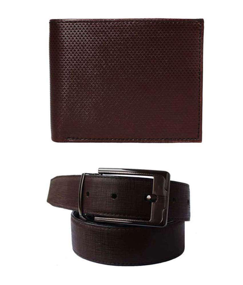 Lenin Brown Leather Belt With Wallet Combo