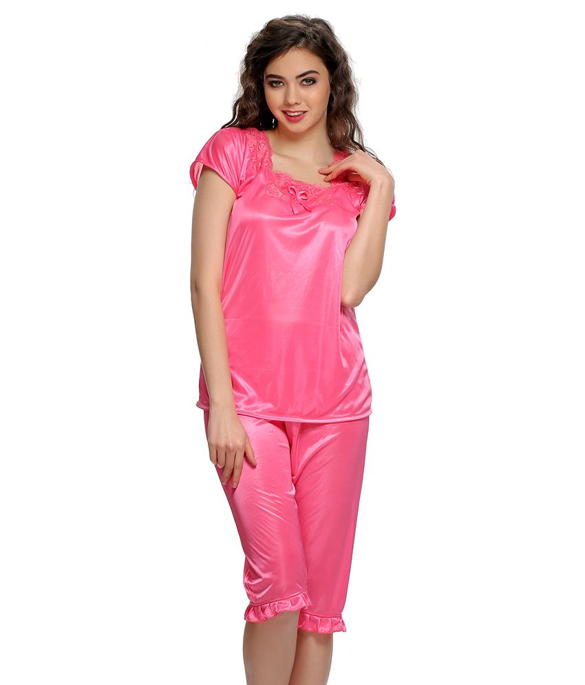 b891a66fc33d Buy Clovia Pink Satin Nightsuit Sets Pack of 2 Online at Best Prices in  India - Snapdeal
