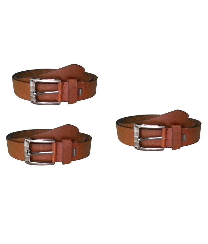 Kushumanjli Collections Brown Formal Single Belt For Men - Pack Of 3