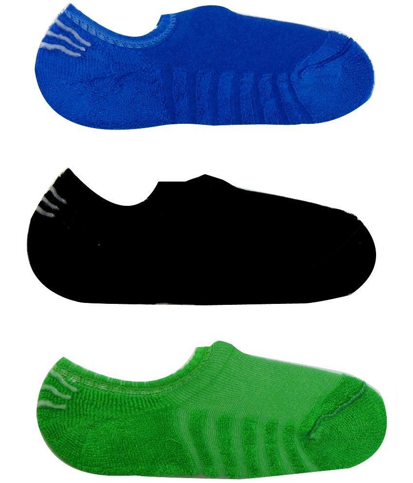 Neska Moda Multicolour Cotton Footies 3 Pair Pack