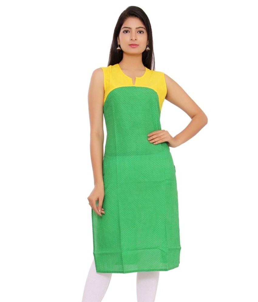 Bibo Green Straight Cotton Kurti