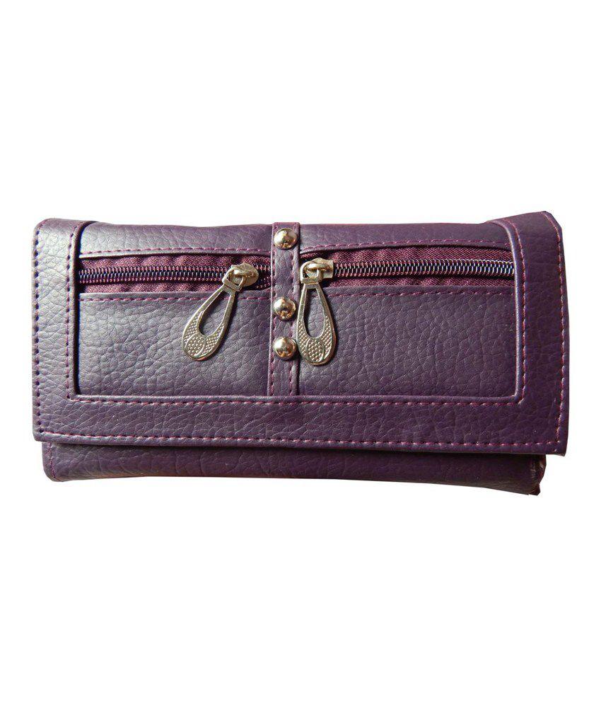 Navaksha Purple Designer Non Leather Regular Wallet