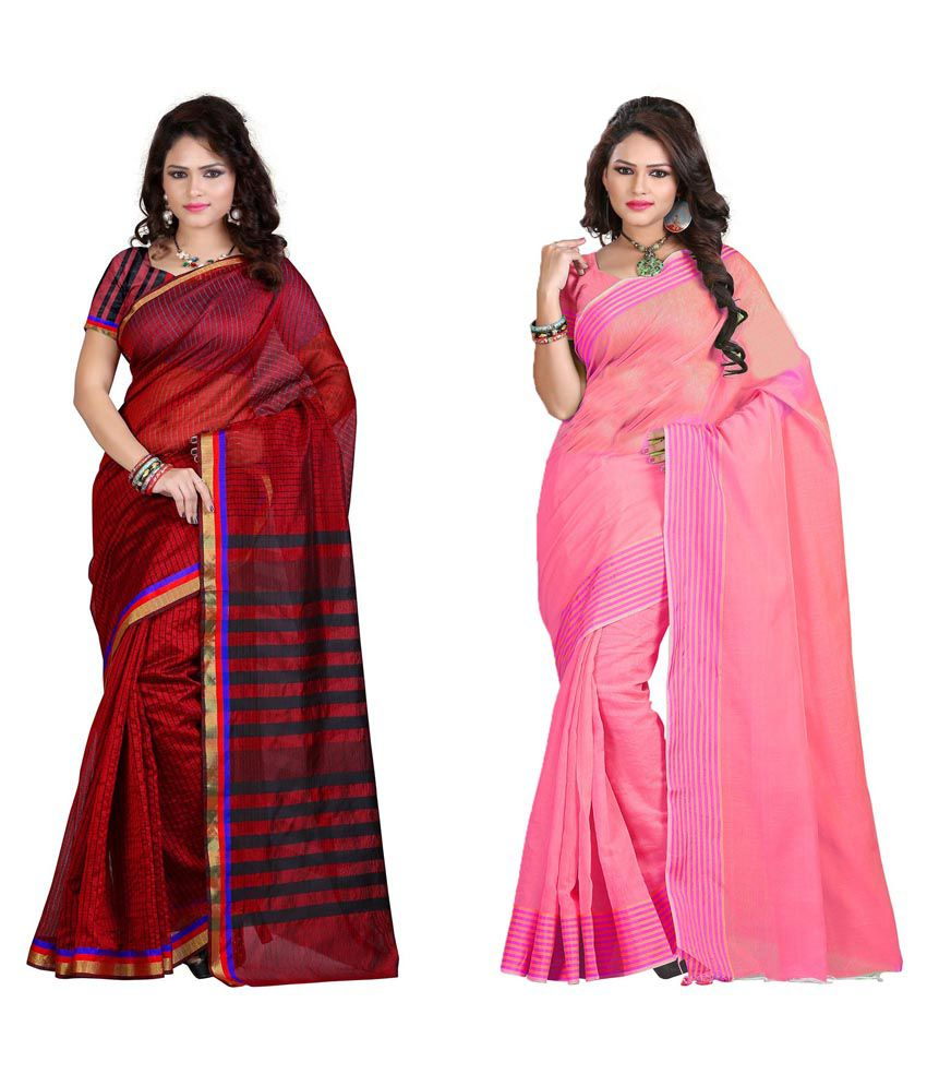 Sareeshop Designer Sarees Multicolour Cotton Silk Pack Of 2