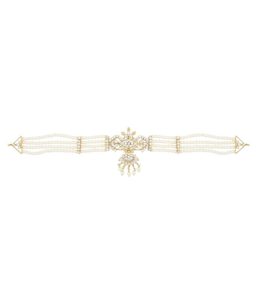 Archi Collection White Alloy Cz Necklace Set