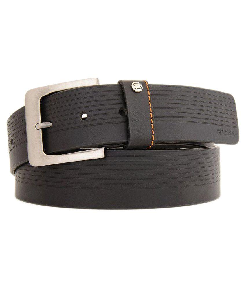 Hidea Black Leather Belt for Men