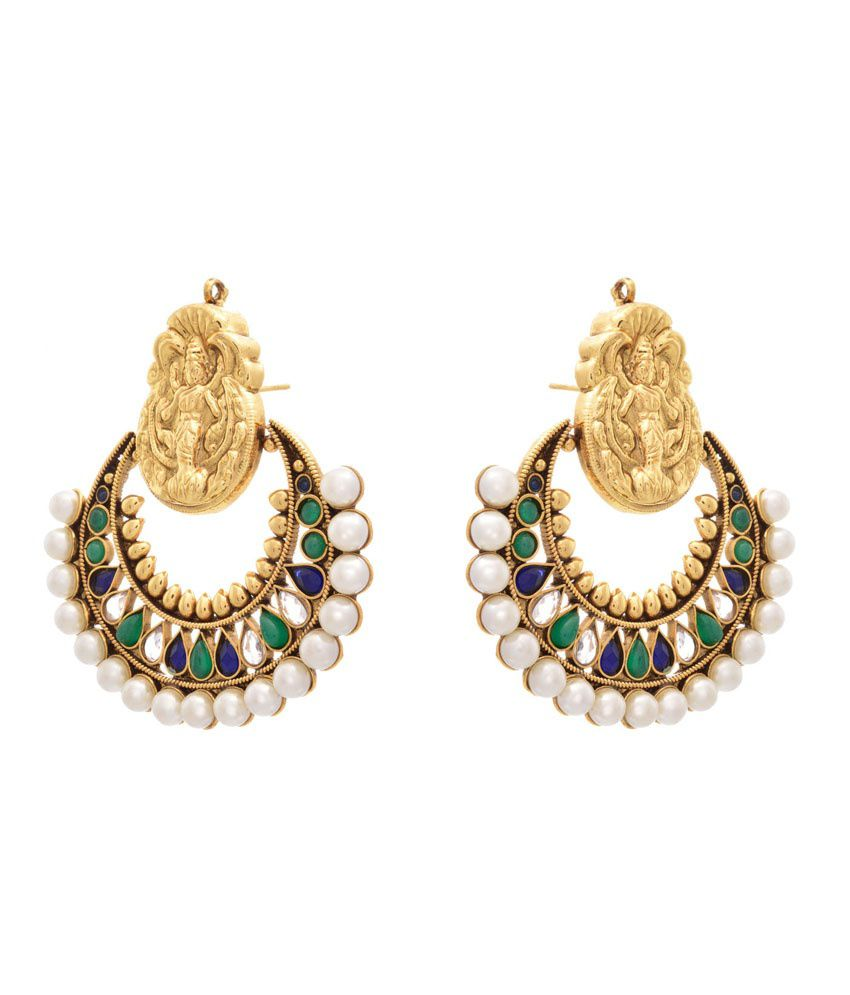 Jfl - Jewellery For Less Green Gold Plated Hanging Earrings
