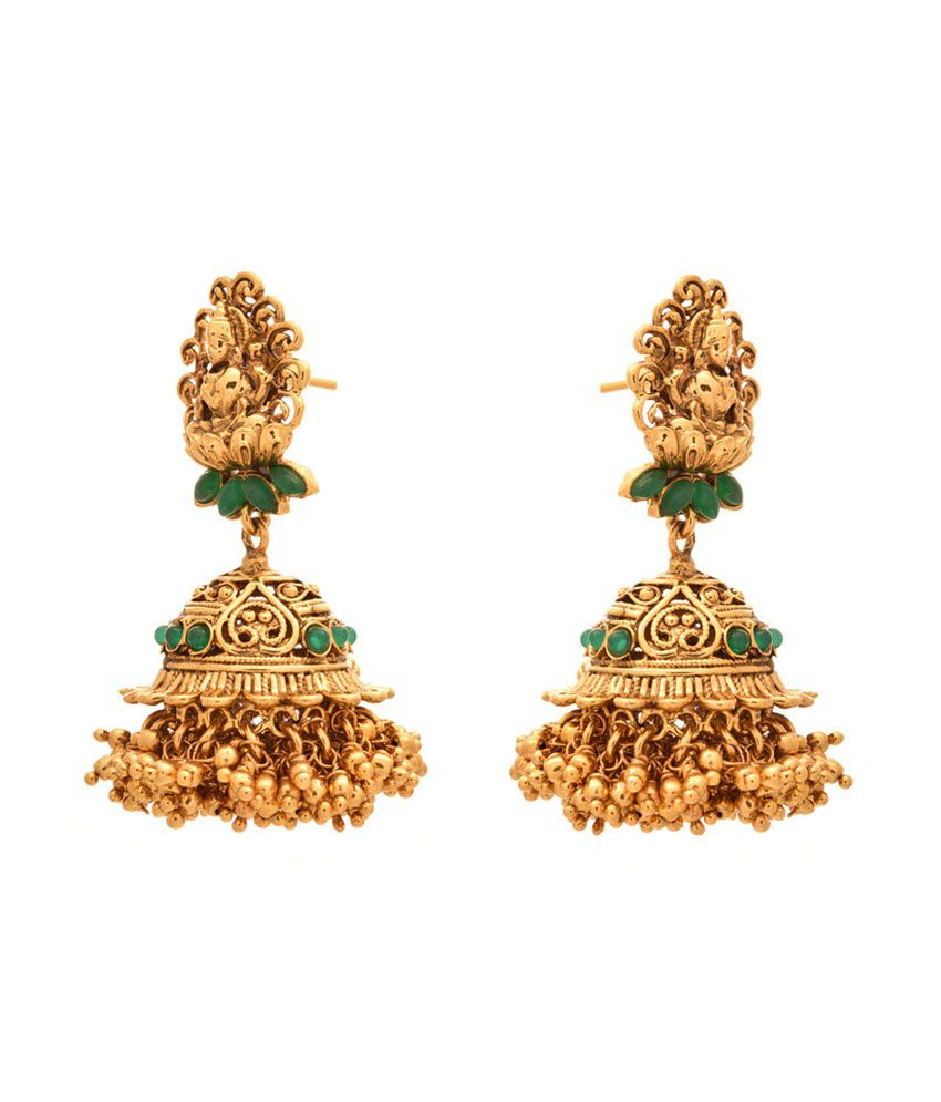 Jfl - Jewellery For Less Green Gold Plated Jhumkis
