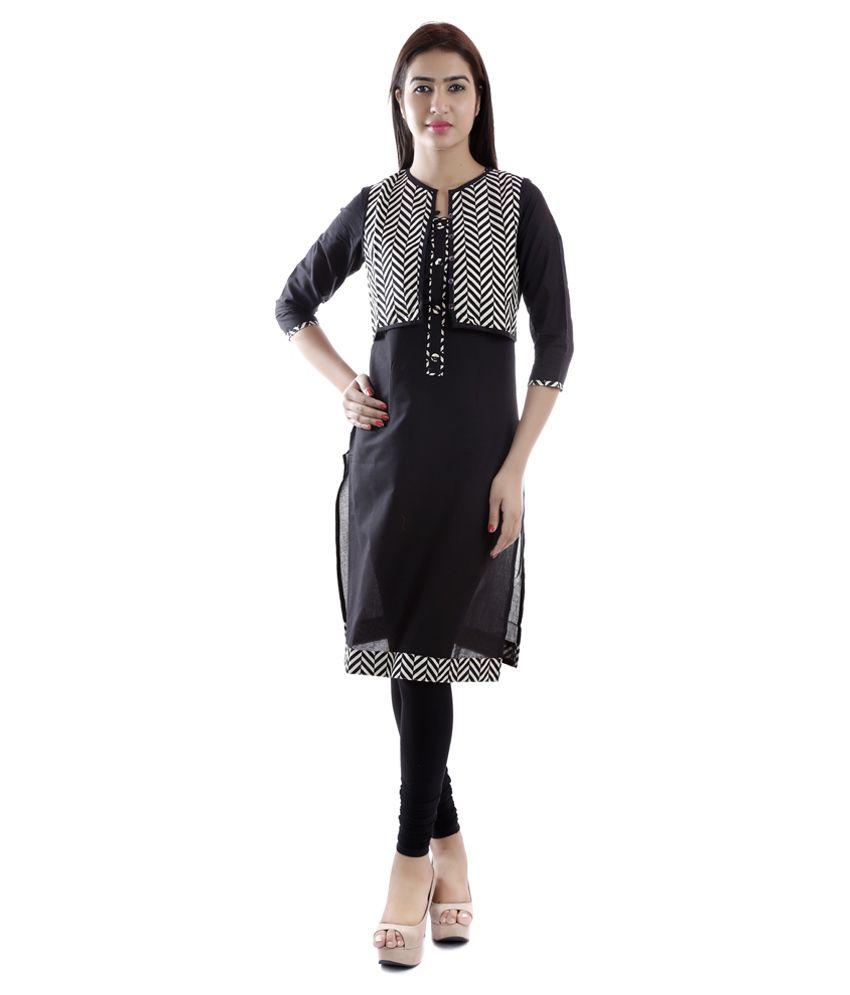 Vasudha Black Straight Cotton Kurti