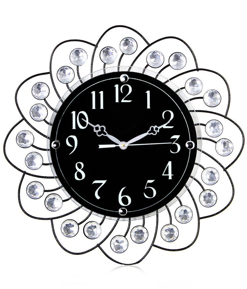 Victor designer moulded wrought iron analog 36 cm dia wall for Wrought iron wall clock