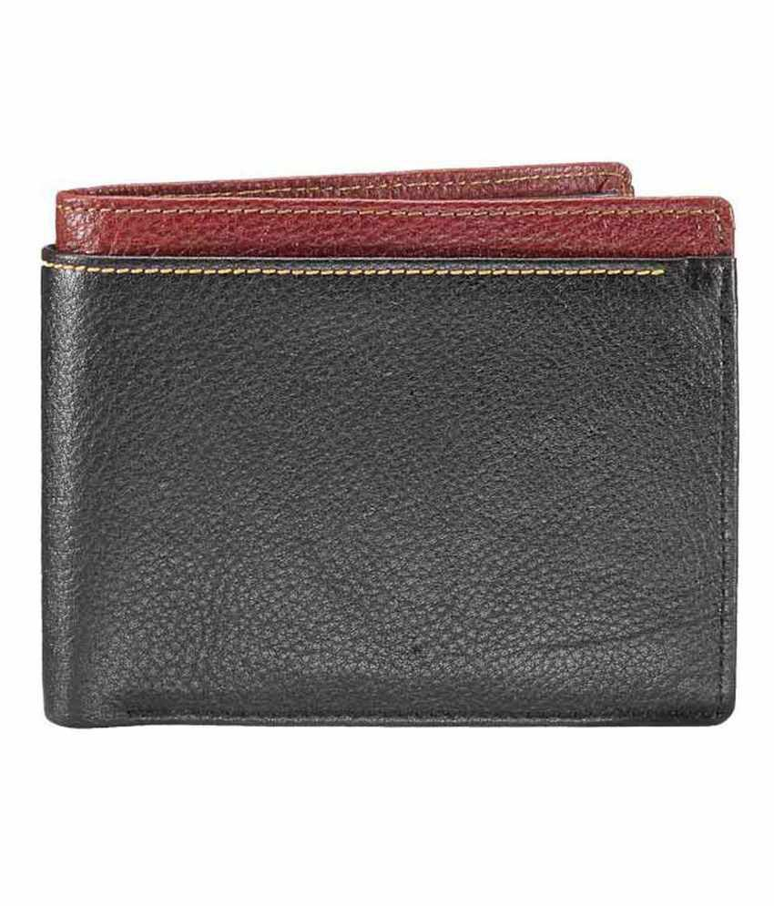 WalletsnBags Black With Tan Edge Wallet