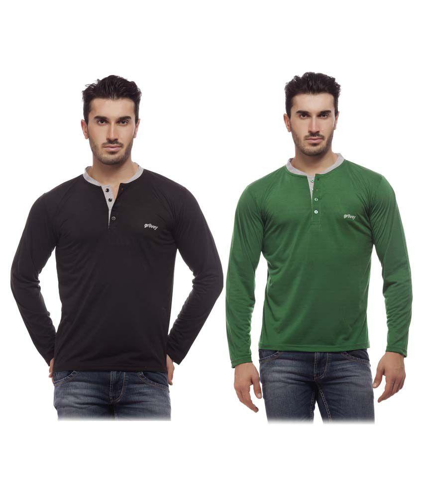 Grovey Black & Green Henley T Shirt Pack Of 2