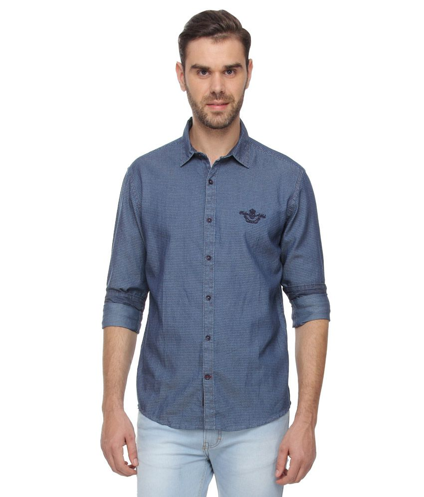 Proline Blue Slim Fit Solids Shirt