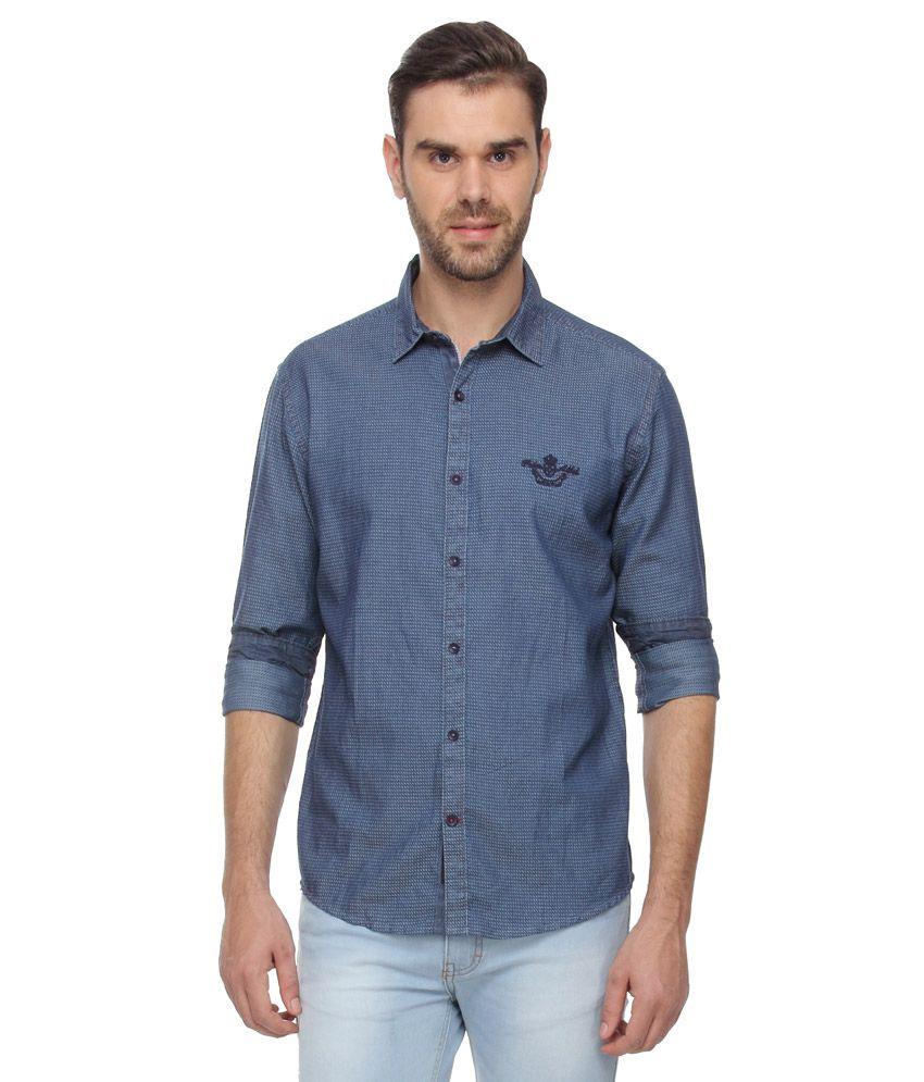 Proline Blue Slim Fit Solids Shirt