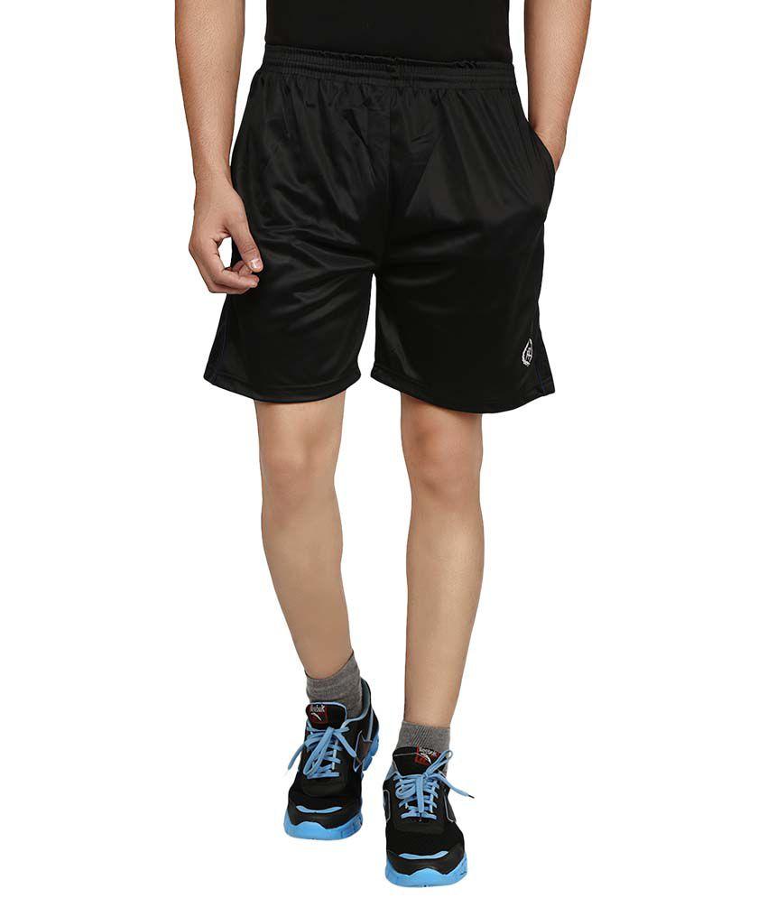 Fashion Flag Black Polyester Solids Shorts