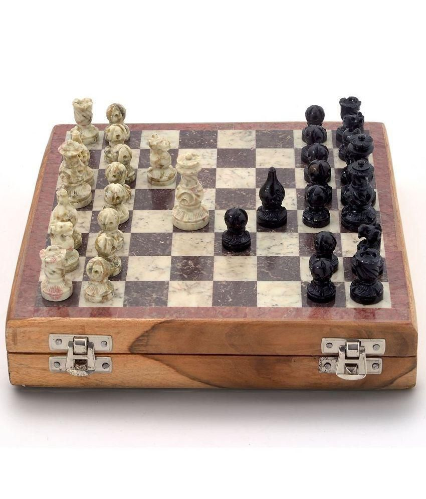 Kaushal Creation Black and White Wooden Chess