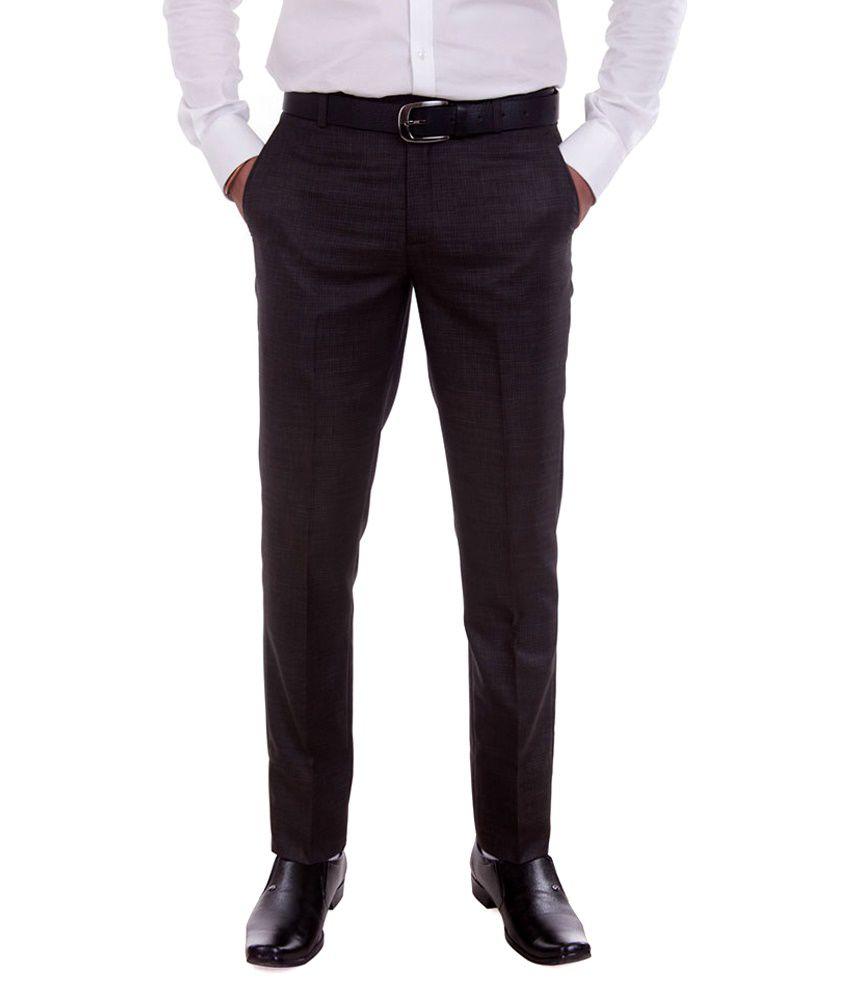 Numerics Brown Slim Fit Flat Trouser