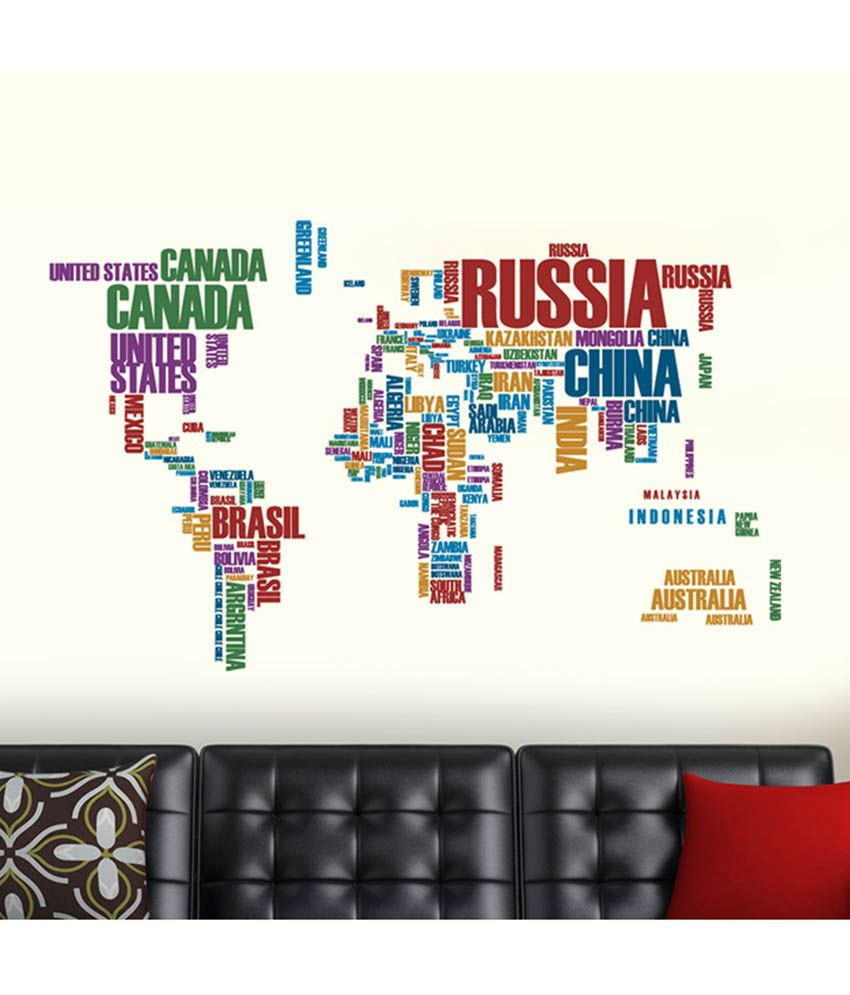 Stickerkart Red and Green World Map with Country Names