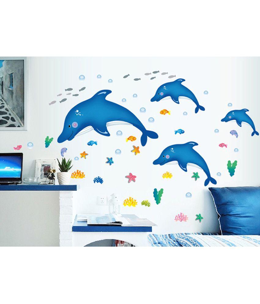 ... Stickerskart Blue Kids Room Baby Nursery Cartoon Dolphins Star Fish  Underwater Creatures Decal Wall Sticker ... Part 37